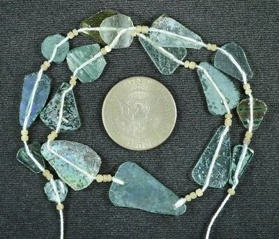 Ancient Roman Glass Beads 1 Medium Strand Aqua And Green 100 -200 Bc 797