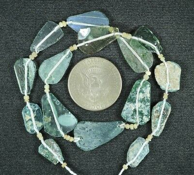 Ancient Roman Glass Beads 1 Medium Strand Aqua And Green 100 -200 Bc 791