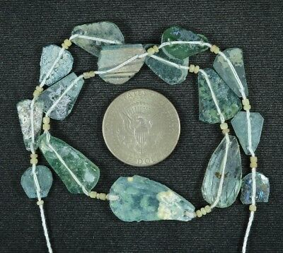 Ancient Roman Glass Beads 1 Medium Strand Aqua And Green 100 -200 Bc 788