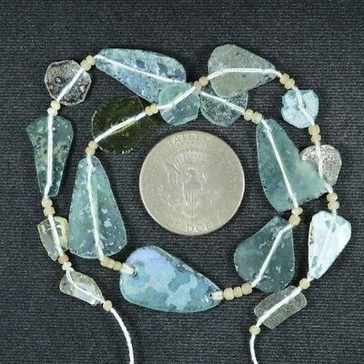Ancient Roman Glass Beads 1 Medium Strand Aqua And Green 100 -200 Bc 786