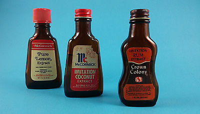 Lot /3 Vintage McCormick Coconut Lemon + Crown Colony Rum Extract Glass Bottles