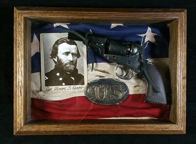 US Civil War Shadow Box w Ulysses S Grant Photo Flag Repro Union Buckle More VF