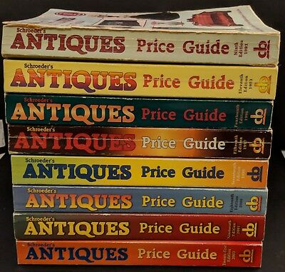 Lot of 9 Schroeders Antiques Price Guides - 1991, 1993, 1996, 1997x2, 1999, 2000