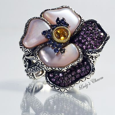Barbara Bixby Pink Mother-of-pearl Gemstone Pansy Sterling Silver 18k Ring Sz 8