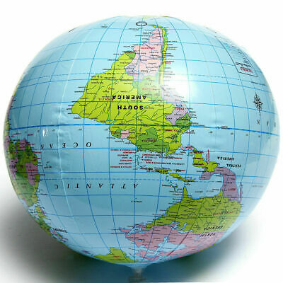 25cm Inflatable World Globe Earth Teaching Geography Map Beach Ball Kids Toy