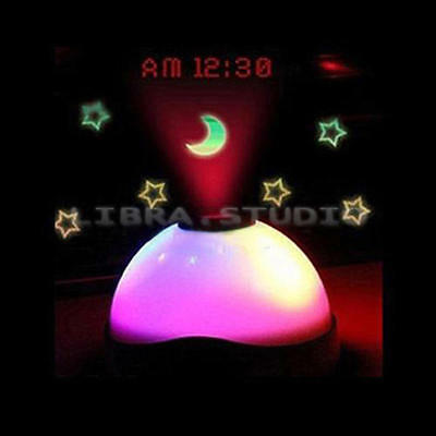 Modern Laser Projection 7 Color Changing Led Funny Alarm Clock Magic Starry