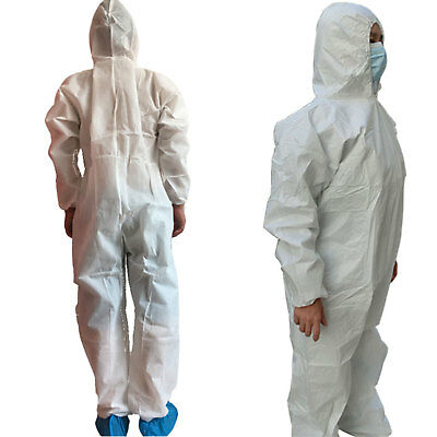 White Disposable DIY Overall Suit Protective Hood Coverall Work Clothes