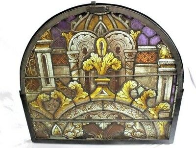 Antique Architectural Hand Painted St.L Basilica Cathedral Stained Glass Window