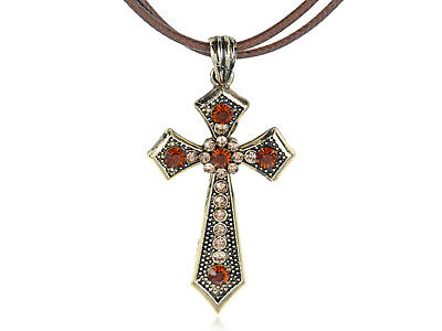 Old Copper Medieval Sharp Topaz Stylish Rhinestone Cross Pendant Necklace Gift