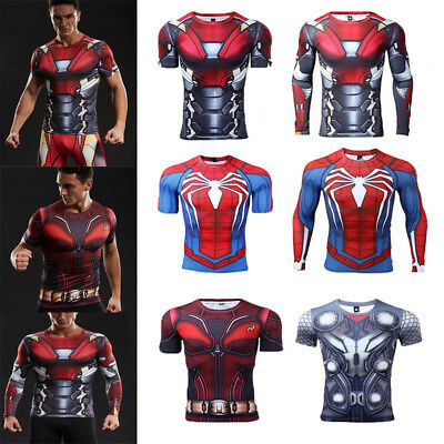 Superhero Mens Compression Gym Sport T-shirt Spiderman Thor Cosplay Gym Tops Tee