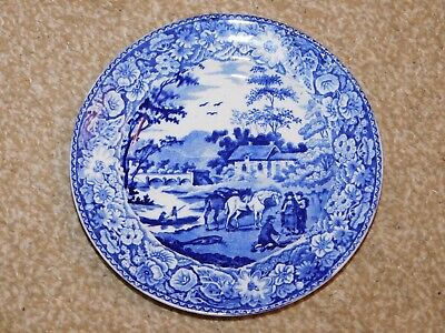 "F & R Pratt Blue & White ""pratt's Native Scenery"" Side Plate Ladies Llangollen"