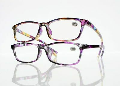Women's Full Flower Rectangle Temple Reading Glasses 1.0~4.0 New