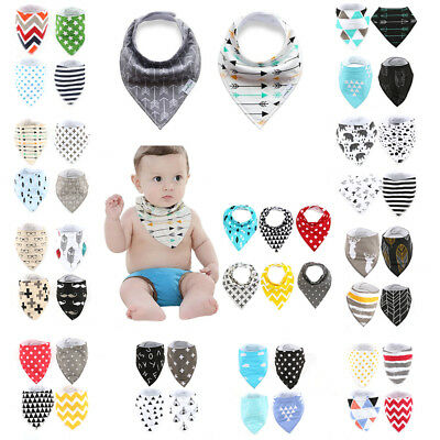 UK 4pcs Baby Kids Cotton Bandana Bibs Feeding Saliva Towel Dribble Triangle Set