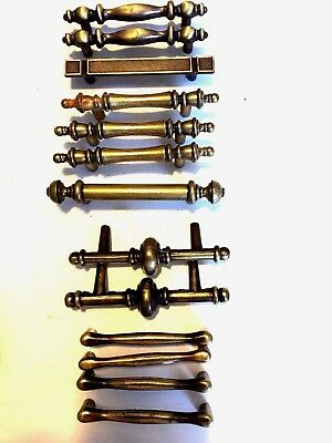 Lot of 13 1968/77 Vintage Brass Hardware Dresser Desk Drawer pull Handles -Heavy