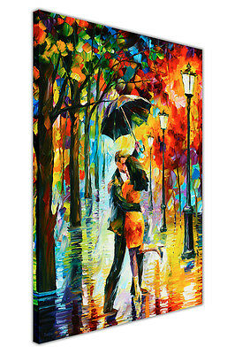 AT54378D Dance Under The Rain By Leonid Afremov Framed Canvas Wall Art Pictures