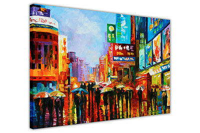 AT54378D Lights Of Down Town By Leonid Afremov Canvas Wall Pictures Art Prints