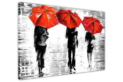 AT54378D B&W Umbrellas By Leonid Afremov Abstract Canvas Print Wall Art Pictures