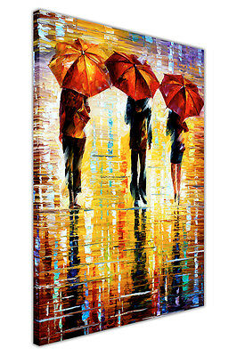 AT54378D 3 Umbrellas By Leonid Afremov Framed Canvas Print Wall Picture Portrait