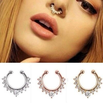 Titanium Crystal Fake Nose Ring Septum Nose Hoop Ring Piercing Body Jewellry