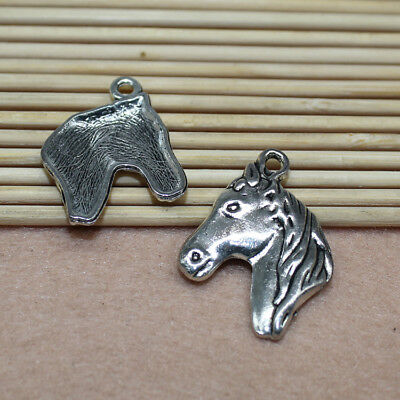 10/50pcs antique silver alloy delicate and lovely horsehead charm pendant