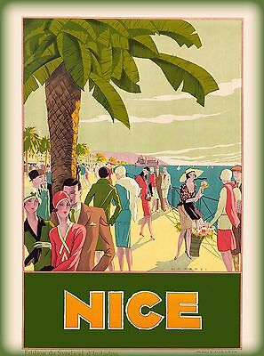 Nice France French Beach Europe European Vintage Travel Advertisement Poster