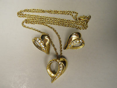 Vintage Estate Jewelry Valentine Heart Earrings & Matching Necklace Lot L5