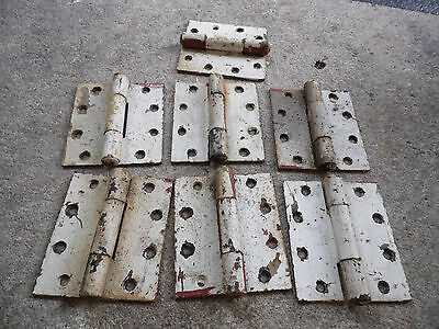 "Heavy Door Hinges 7 Sets Painted Home Barn 5"" x 4.5"" Antique Vintage"