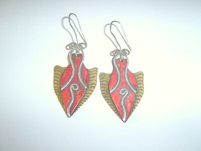 Vintage Designer Arts Craft Nouveau Style Brass Silver Red Tone Shield Earrings