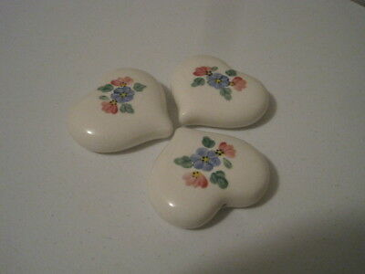 HOME INTERIORS Lasting Products SET of 3 HEART Flowers CERAMIC? Wall PLAQUES