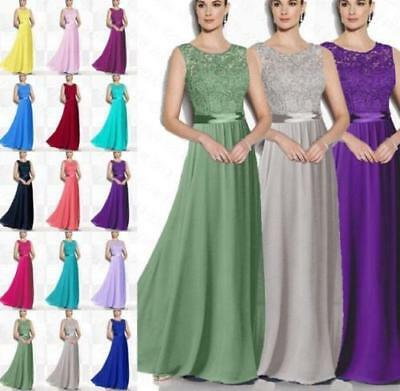 Long Lace Chiffon Bridesmaid Formal Ball Gown Party Cocktail Evening Prom Dress