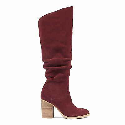012d6a2abef NINE WEST WOMEN S Abee Over The Knee Suede Boots Wine Red Shoe Heel Size 7 M  -  39.98