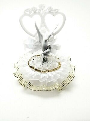 "Double Heart Cake Top with Love Doves Decorated in Gold and White 10"" Tall"