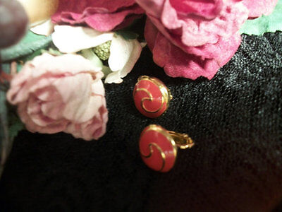 Earrings Clip On Pink Peach Coral Ying Yang Gold Metal VTG 1960 Fashion Jewelry