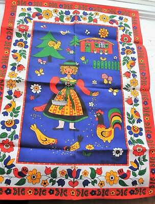"Vintage German Folk Art Table Cloth 27"" x 19 1/2"""