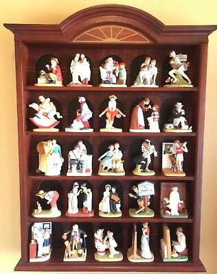 NORMAN ROCKWELL Danbury Mint Collection Lot 25 Porcelain Figurines Display Case
