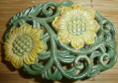 "Vintage Sunflower Barrette~Hair Clasp/clip~Sun Flower~Hippie~Boho~Gypsy~3""~Rare!"