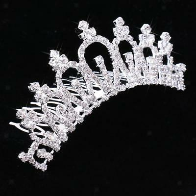 Delicate Tiara Lady Crystal Crown Hair Comb Wedding Party Headpiece Costume
