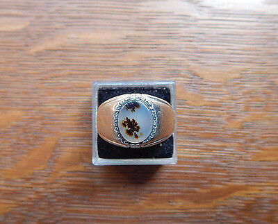 Clark & Coombs Ring Vintage Moss Agate Art Deco Sterling Silver Size 8.25