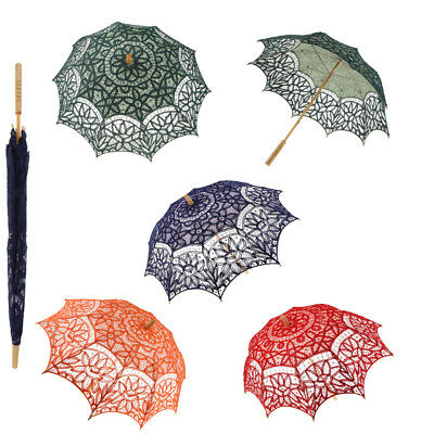 Fashion Battenburg Lace Cotton Sun Umbrella Parasol Dance Costume Prop 68cm Long