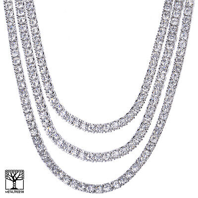 "Men's 20"" / 24"" / 26"" Iced CZ Triple Silver Plated Tennis Chain Necklace SET"