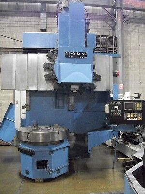 """49"""" Tos Hulin CNC Vertical Boring Mill VTL with Fanuc Control 49"""" Power 3-Jaw"""
