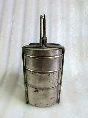 Vintage Old Rare Collectible Brass Unique 3 Compartment Indian Tiffin Lunch Box