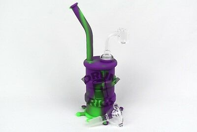 Purple and Green Silicone Oil Drum Rig Hookah Rig  - USA Shipper