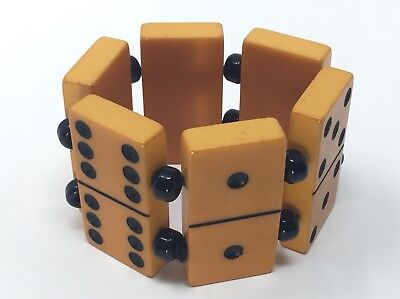 Vintage Genuine Butterscotch Bakelite Stretch Bracelet Dominos w Black Beads