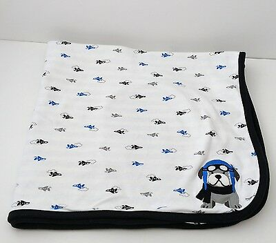 Carters Just One You Airplane Puppy Dog Blue,White,Black Striped Baby Blanket