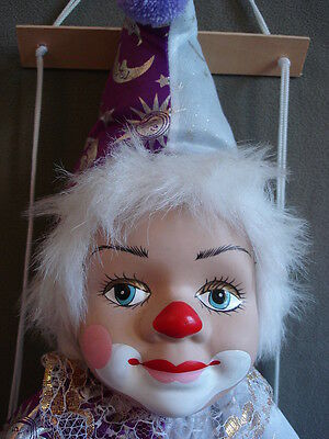 Vintage Marionette Clown On Swing 28 Inch Home Decor
