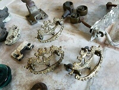 38 Antique Cast Iron Brass Tin Glass ORNATE DRAWER CABINET DOOR WINDOW HARDWARE