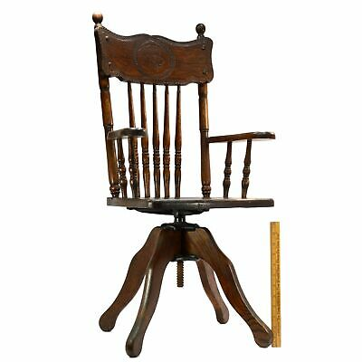 Antique CHILD-SIZE WOOD SWIVEL CHAIR Carved Dog BANISTER-SPINDLE BACK Oak c.19th