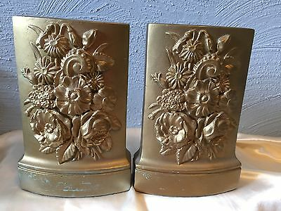 Chic Rare Vintage Plaster Chalkware Borghese Gilt Floral Bookends Shabby Glam