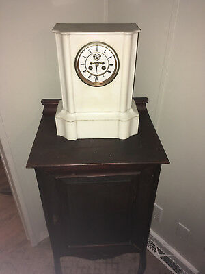 Rare Antique Japy Freres White Marble Mantle Clock 1844-1849 French Medailles